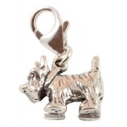 Scottie / Westie Dog 3D Sterling Silver Clip On Charm - With Clasp